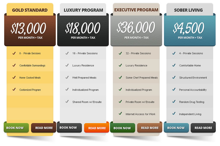 Pricing Table, luxury program, executive program, sober living, gold standard